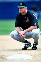 Matt Williams of the Arizona Diamondbacks participates in a Major League Baseball game at Dodger Stadium during the 1998 season in Los Angeles, California. (Larry Goren/Four Seam Images)