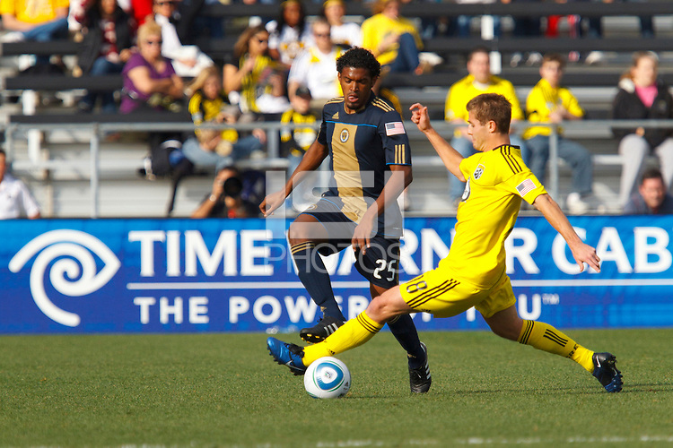 24 OCTOBER 2010:  Columbus Crew midfielder/forward Robbie Rogers (18) tackles the ball from Philadelphia Union defender Sheanon Williams (25) during MLS soccer game at Crew Stadium in Columbus, Ohio on August 28, 2010.