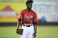 C.D. Pelham (24) of the Down East Wood Ducks waits for his turn to pitch in the 2018 Carolina League All-Star Classic at Five County Stadium on June 19, 2018 in Zebulon, North Carolina. The South All-Stars defeated the North All-Stars 7-6.  (Brian Westerholt/Four Seam Images)