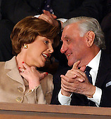 Doctor Adnan Pachachi, President, Iraqi Governing Council, and President of the Iraqi Independent Grouping, right, and first lady Laura Bush, left, share some thoughts during the State of the Union Address at the United States Capitol in Washington, DC on January 20, 2004.<br /> Credit: Ron Sachs / CNP