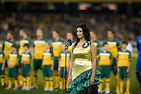 MELBOURNE, AUSTRALIA - MAY 24, 2010: Singing of the national anthems at the FIFA World Cup farewell match between Australia and New Zealand at the Melbourne Cricket Ground, 24 May, 2010 in Melbourne, Australia. Photo by Sydney Low / www.syd-low.com