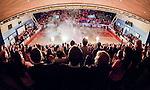 ****BETALBILD**** <br /> Uppsala 2015-04-24 Basket SM-Final 3 Uppsala Basket - S&ouml;dert&auml;lje Kings :  <br /> Vy &ouml;ver Fyrishov under ett intro med publik p&aring; l&auml;ktarna inf&ouml;r matchen mellan Uppsala Basket och S&ouml;dert&auml;lje Kings <br /> (Foto: Kenta J&ouml;nsson) Nyckelord:  Basket Basketligan SM SM-final Final Fyrishov Uppsala S&ouml;dert&auml;lje Kings SBBK inomhus interi&ouml;r interior supporter fans publik supporters intro