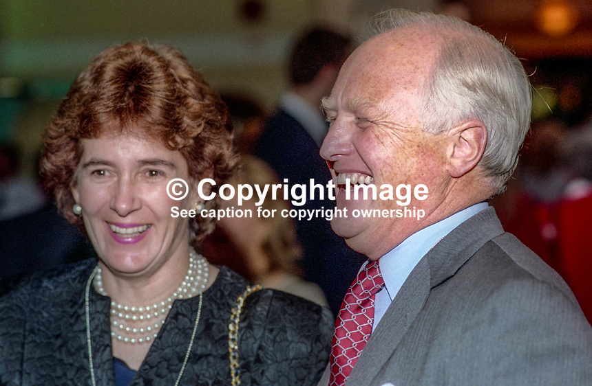 Winston Churchill, MP, Conservative Party, UK, with his wife, Minnie, at October 1993 annual conference. 1993107327<br /><br />Copyright Image from Victor Patterson, 54 Dorchester Park, <br />Belfast, UK, BT9 6RJ<br /><br />t1: +44 28 9066 1296 (from Rep of Ireland 048 9066 1296)<br />t2: +44 28 9002 2446 (from Rep of Ireland 048 9002 2446)<br />m: +44 7802 353836<br /><br />victorpatterson@me.com<br />www.victorpatterson.com<br /><br />Please see my Terms and Conditions of Use at VICTORPATTERSON.COM. It is IMPORTANT that you familiarise yourself with them.<br /><br />Images used on the Internet must be visibly watermarked i.e. &copy;VICTORPATTERSON.COM within the body of the image and copyright metadata must not be deleted. Images used on the Internet have a size restriction of 4kbs and are chargeable at the then current NUJ rates.<br /><br />This image is only available for the use of the download recipient i.e. television station, newspaper, magazine, book publisher, etc, and must not be passed on to any third party. It is also downloaded on condition that each and every usage is notified within 7 days to victorpatterson@me.com<br /><br />The right of Victor Patterson to be identified as the author is asserted in accordance with The Copyright Designs And Patents Act (1988).