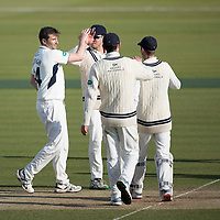 Middlesex players congratulate Tim Murtagh on his fifth wicket during Middlesex CCC vs Lancashire CCC, Specsavers County Championship Division 2 Cricket at Lord's Cricket Ground on 13th April 2019