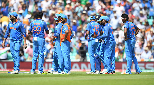 June 18th 2017, The Kia Oval, London, England;  ICC Champions Trophy Cricket Final; India versus Pakistan; India celebrate the wicket of Azhar Ali of Pakistan