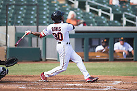 Salt River Rafters left fielder Jaylin Davis (30), of the Minnesota Twins organization, follows through on his swing during an Arizona Fall League game against the Glendale Desert Dogs at Salt River Fields at Talking Stick on October 31, 2018 in Scottsdale, Arizona. Glendale defeated Salt River 12-6 in extra innings. (Zachary Lucy/Four Seam Images)