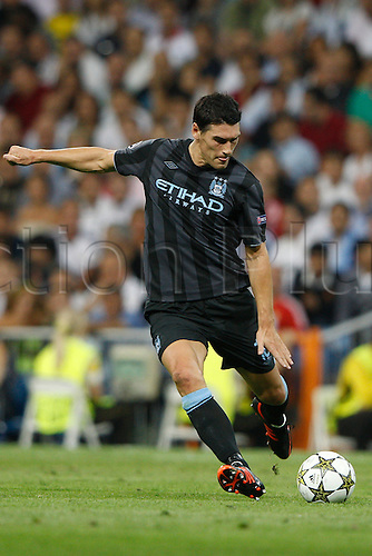18.09.2012. Madrid. Spain.  Champions League   match played between Real Madrid CF vs  Manchester City at Santiago Bernabeu stadium. The picture show Gareth Barry (Midfielders of Manchester City) Real Madrid rallied to win the game 3-2.