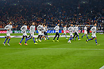 06.11.2018, Veltins-Arena, Gelsenkirchen, GER, CL, FC Schalke 04 vs Galatasaray Istanbul, DFL regulations prohibit any use of photographs as image sequences and/or quasi-video <br /> <br /> im Bild die Mannschaft von Schalke beim Warmlaufen<br /> <br /> Foto &copy; nordphoto/Mauelshagen