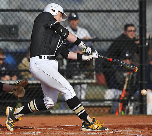 Anthony Fontana #4, Wantagh first baseman, connects for a single in the top of the third inning of a Nassau County varsity baseball game against host Bethpage High School on Monday, April 3, 2017. Wantagh won by a score of 12-3.