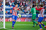 Kevin Gameiro (l) of Club Atletico de Madrid celebrates with teammate Antoine Griezmann during their La Liga match between Club Atletico de Madrid and Malaga CF at the Estadio Vicente Calderón on 29 October 2016 in Madrid, Spain. Photo by Diego Gonzalez Souto / Power Sport Images