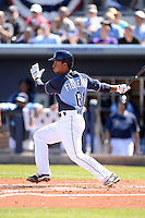 Tampa Bay Rays infielder Cole Figueroa (61) during a spring training game against the Minnesota Twins on March 2, 2014 at Charlotte Sports Park in Port Charlotte, Florida.  Tampa Bay defeated Minnesota 6-3.  (Mike Janes/Four Seam Images)