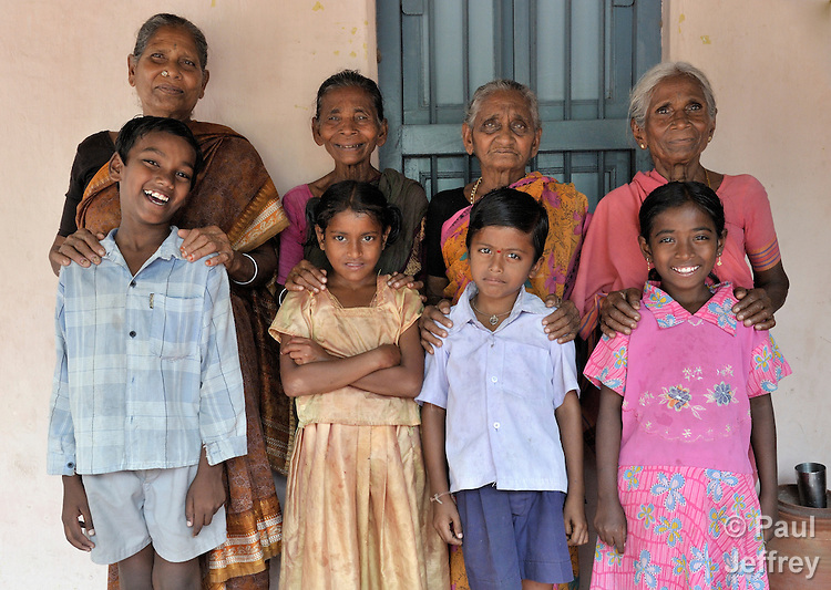 Four HIV-positive orphans in India who live with their respective grandmothers. They are all members of the Hope Arpana Positive People Effective Network in Guntur, Andhra Pradesh, India.  Left to right: Meera B and 10-year old Parveen; Varayanamma and 11-year old Nagaraj; B Marthainma and 10-year old Anusha; Lakshmi Kanthamma and 8-year old Anandan. (See Special Instructions below.)