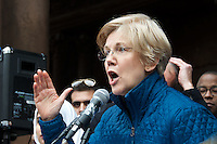 Senator Elizabeth Warren at Rally Anti Trump Muslim Ban and immigration restrictions at Copley Plaza Boston ,MA 1.29.17