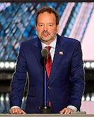 Businessman Andy Wist of Brooklyn, New York makes remarks at the 2016 Republican National Convention held at the Quicken Loans Arena in Cleveland, Ohio on Tuesday, July 19, 2016.<br /> Credit: Ron Sachs / CNP<br /> (RESTRICTION: NO New York or New Jersey Newspapers or newspapers within a 75 mile radius of New York City)
