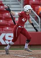 NWA Democrat-Gazette/ANDY SHUPE<br /> Arkansas designated hitter Danielle Gibson follows through at the plate against Wichita State Wednesday, April 10, 2019, during the second inning at Bogle Park in Fayetteville. Visit nwadg.com/photos to see more photographs from the game.