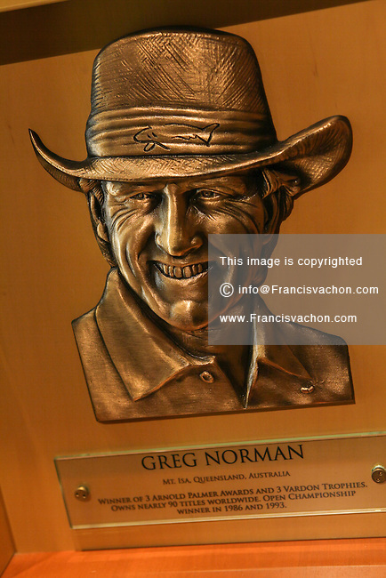 The bronze relief plaque of Greg Norman, inducted in the Hall of Fame in 1993, is seen at the World Golf Hall of Fame in St. Augustine, Florida Friday April 26, 2013. Located in The World Golf Village, the World Golf Hall of Fame features exhibits on the game's history, heritage, and techniques and a Hall of Fame.