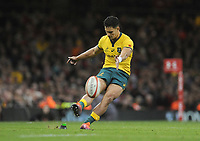 Australia's Matt To'omua kicks a penalty<br /> <br /> Photographer Ian Cook/CameraSport<br /> <br /> Under Armour Series Autumn Internationals - Wales v Australia - Saturday 10th November 2018 - Principality Stadium - Cardiff<br /> <br /> World Copyright © 2018 CameraSport. All rights reserved. 43 Linden Ave. Countesthorpe. Leicester. England. LE8 5PG - Tel: +44 (0) 116 277 4147 - admin@camerasport.com - www.camerasport.com