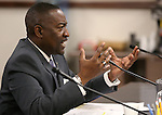 Nevada Assemblyman Tyrone Thompson, D-North Las Vegas, works in committee at the Legislative Building in Carson City, Nev., on Monday, March 2, 2015. <br /> Photo by Cathleen Allison