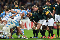 Forwards pack down for a scrum. Rugby World Cup Bronze Final between South Africa and Argentina on October 30, 2015 at The Stadium, Queen Elizabeth Olympic Park in London, England. Photo by: Patrick Khachfe / Onside Images