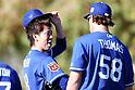 (L-R) Kenta Maeda, Ian Thomas (Dodgers),<br /> FEBRUARY 20, 2016 - MLB :<br /> Los Angeles Dodgers spring training baseball camp in Glendale, Arizona, United States. (Photo by AFLO)