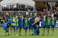 Toronto, ON, Canada - Saturday Dec. 10, 2016: Seattle Sounders FC during the MLS Cup finals at BMO Field. The Seattle Sounders FC defeated Toronto FC on penalty kicks after playing a scoreless game.