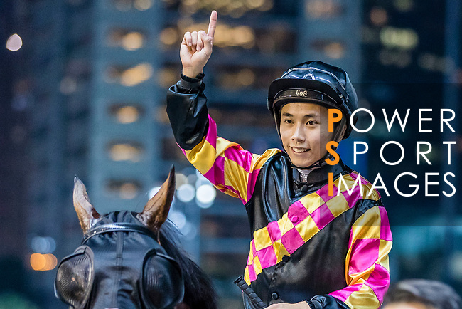 Jockey #9 Matthew Poon Ming-fai riding Le Pegase celebrates after winning the race 1 during Hong Kong Racing at Happy Valley Racecourse on on September 05, 2018 in Hong Kong, Hong Kong. Photo by Yu Chun Christopher Wong / Power Sport Images