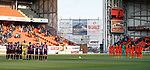 Dundee Utd and Crusaders observe a minutes silence for Remembrance