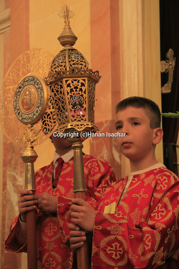Israel, Lower Galilee, Palm Sunday at the Greek Catholic Church in Nazareth
