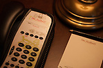 Telephone and note pad at The Redbury Hotel, an SBE property in Hollywood, Los Angeles, CA