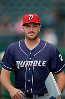 Binghamton Rumble Ponies pitcher Austin McGeorge (24) before an Eastern League game against the Richmond Flying Squirrels on May 29, 2019 at The Diamond in Richmond, Virginia.  Binghamton defeated Richmond 9-5 in ten innings.  (Mike Janes/Four Seam Images)