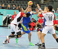 21.01.2013 Barcelona, Spain. IHF men's world championship, Eighth Final. Picture show Marko Bezjak  in action during game slovenia vs Egypt at Palau St Jordi