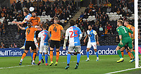 Blackburn Rovers' Sam Gallagher gets to the ball first<br /> <br /> Photographer Dave Howarth/CameraSport<br /> <br /> The Premier League - Hull City v Blackburn Rovers - Tuesday August 20th 2019  - KCOM Stadium - Hull<br /> <br /> World Copyright © 2019 CameraSport. All rights reserved. 43 Linden Ave. Countesthorpe. Leicester. England. LE8 5PG - Tel: +44 (0) 116 277 4147 - admin@camerasport.com - www.camerasport.com