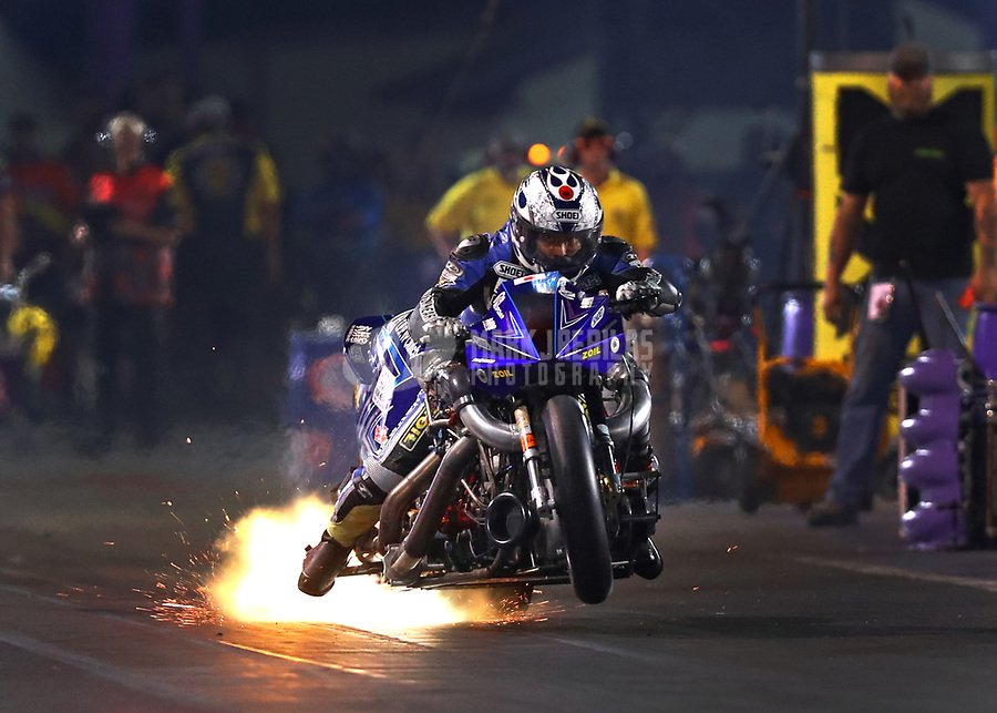 Apr 21, 2017; Baytown, TX, USA; NHRA nitro Harley Davidson motorcycle rider Takeshi Shigematsu during qualifying for the Springnationals at Royal Purple Raceway. Mandatory Credit: Mark J. Rebilas-USA TODAY Sports