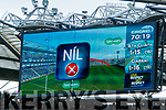 Hawkeye signals a Dublin attempt at a point is wide during the GAA Football All-Ireland Senior Championship Final match between Kerry and Dublin at Croke Park in Dublin on Sunday.