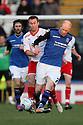 Jason Kennedy of Rochdale holds off Joel Byrom of Stevenage.Rochdale v Stevenage - npower League 1 - Spotland, Rochdale - 14th January, 2012.© Kevin Coleman 2012