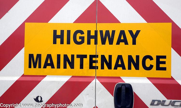Highway Maintenance sign on back of van, UK