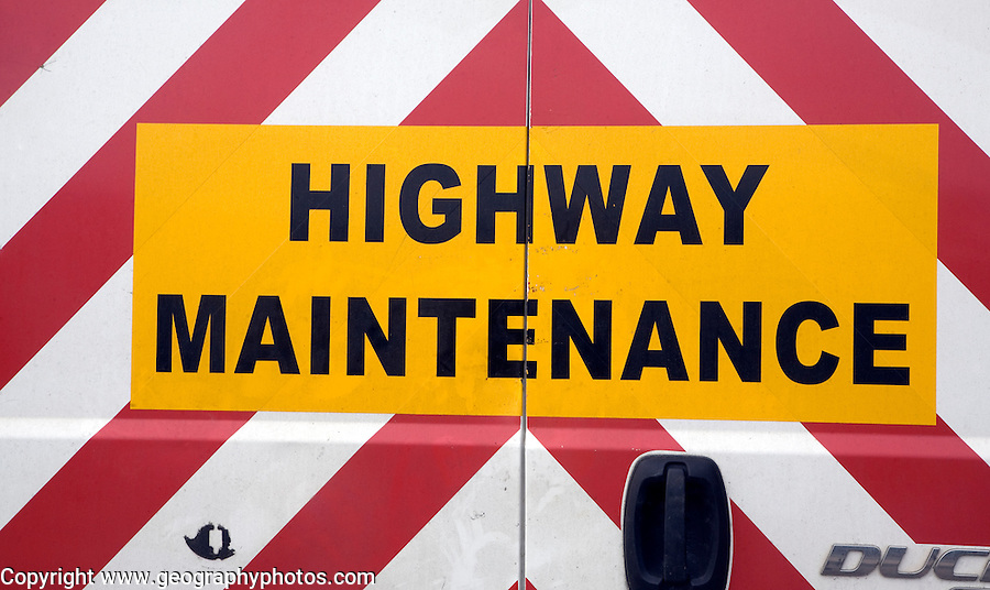 Highway Maintenance sign on back of van, UK