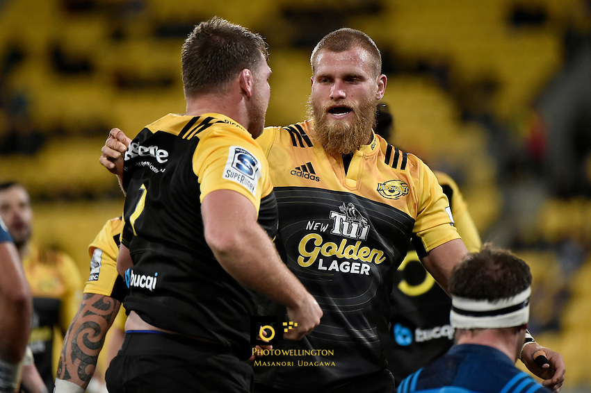 Hurricanes' Reg Goodes and Bad Shields in action during the Super Rugby - Hurricanes v Blues at Westpac Stadium, Wellington, New Zealand on Saturday 2 July 2016. <br /> Photo by Masanori Udagawa. <br /> www.photowellington.photoshelter.com.