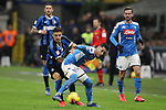 Alexis Sanchez of Inter tussles with Jose Callejon of Napoli during the Coppa Italia match at Giuseppe Meazza, Milan. Picture date: 12th February 2020. Picture credit should read: Jonathan Moscrop/Sportimage