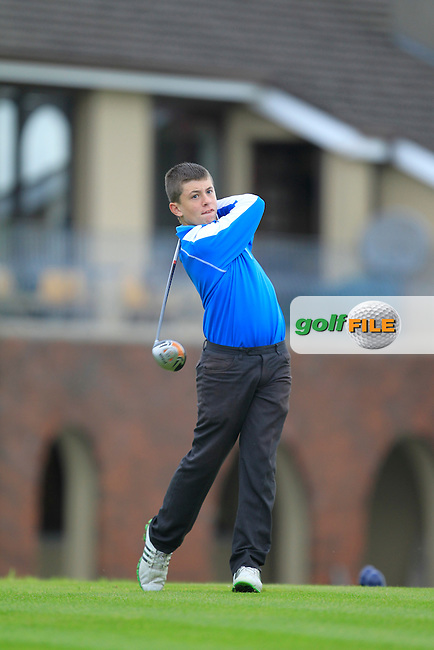 Jack McGarry (Rosslare) on the 1st tee during the Irish Boys Under 15 Amateur Open Championship Round 2 at the West Waterford Golf Club on Tuesday 20th August 2013 <br /> Picture:  Thos Caffrey/ www.golffile.ie
