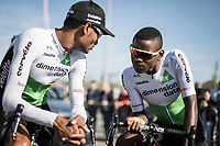 Emanuel Ghebreigzabhier (ERI/Dimension Data), Nicholas Dlamini (RSA/Dimension Data) awaiting the pre race team presentation.<br /> <br /> 82nd La Fl&egrave;che Wallonne 2018<br /> 1 Day Race: Seraing - Huy (198,5km)