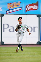 Clinton LumberKings left fielder Dimas Ojeda (33) tracks a fly ball during a game against the West Michigan Whitecaps on May 3, 2017 at Fifth Third Ballpark in Comstock Park, Michigan.  West Michigan defeated Clinton 3-2.  (Mike Janes/Four Seam Images)