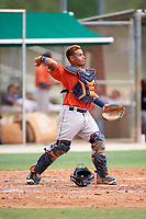 GCL Astros catcher Orlando Marquez (36) during a game against the GCL Marlins on July 22, 2017 at Roger Dean Stadium Complex in Jupiter, Florida.  GCL Astros defeated the GCL Marlins 5-1, the game was called in the seventh inning due to rain.  (Mike Janes/Four Seam Images)
