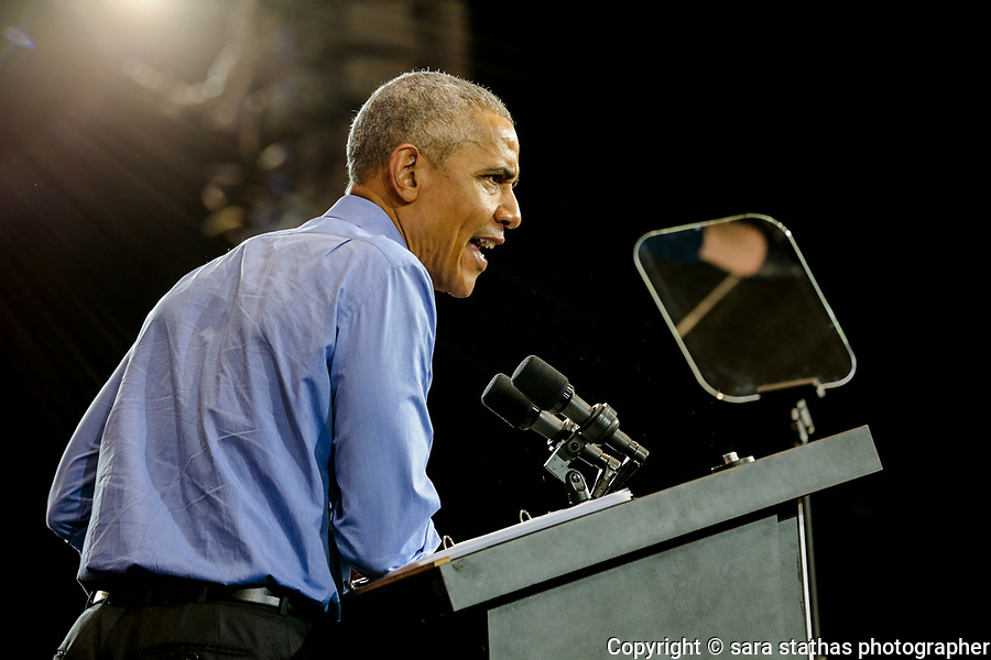 Former U.S. President Barack Obama speaks during a campaign rally for democratic candidates Milwaukee, Wisconsin on October 26, 2018.