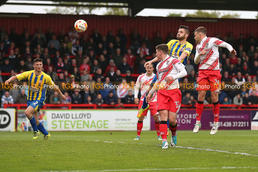 Matthew Godden of Stevenage goes close to a goal during Stevenage vs Accrington Stanley, Sky Bet EFL League 2 Football at the Lamex Stadium on 6th May 2017