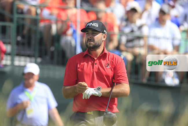 Stephan Jaeger (GER) on the 1st tee to start his match during Saturday's Round 3 of the 117th U.S. Open Championship 2017 held at Erin Hills, Erin, Wisconsin, USA. 17th June 2017.<br /> Picture: Eoin Clarke | Golffile<br /> <br /> <br /> All photos usage must carry mandatory copyright credit (&copy; Golffile | Eoin Clarke)