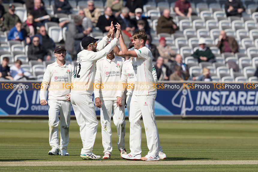 The Lancashire players congratulate Tom Bailey on the wicket of Nick Gubbins during Middlesex CCC vs Lancashire CCC, Specsavers County Championship Division 2 Cricket at Lord's Cricket Ground on 11th April 2019