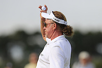 Miguel Angel Jimenez (ESP) sinks his putt on the 14th green during Thursday's Round 1 of the 145th Open Championship held at Royal Troon Golf Club, Troon, Ayreshire, Scotland. 14th July 2016.<br /> Picture: Eoin Clarke | Golffile<br /> <br /> <br /> All photos usage must carry mandatory copyright credit (&copy; Golffile | Eoin Clarke)