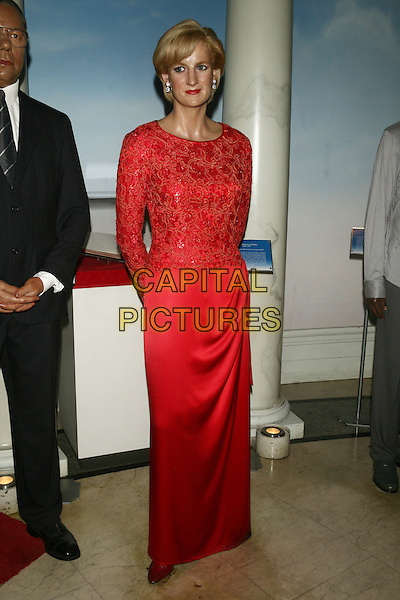 PRINCESS DIANA WAXWORK.Waxwork figure at Madame Tussauds, New York, USA..15th March 2011.full length red dress lace long sleeves wax work.CAP/LNC/TOM.©LNC/Capital Pictures.