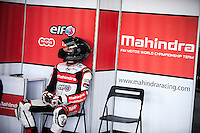 Miguel Oliveira in his box at pre season winter test IRTA Moto3 & Moto2 at Ricardo Tormo circuit in Valencia (Spain), 11-12-13 February 2014